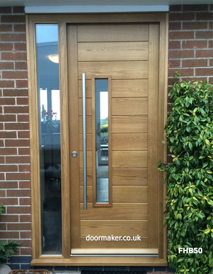contemporary oak door with sidelight