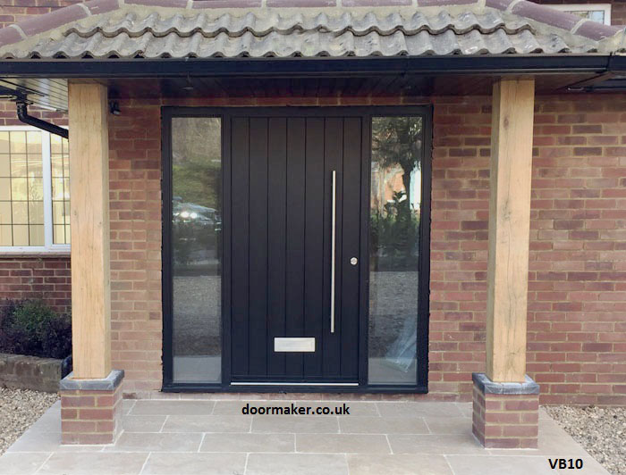 contemporary black door with side lights