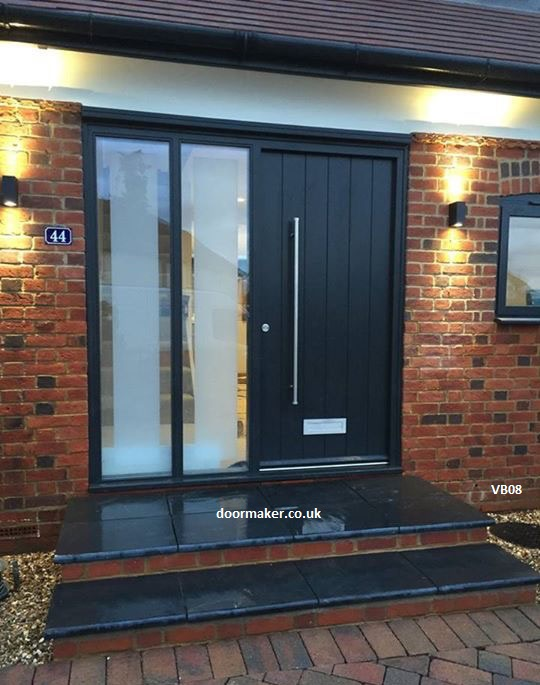 ontemporary grey door with sidelights
