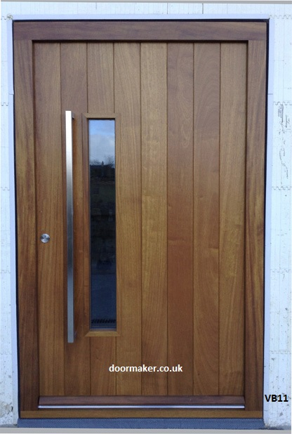 vertical boarded contemporary door with vision panel