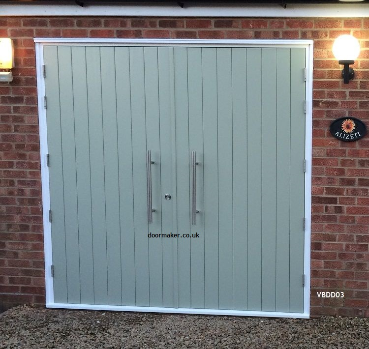 contemporary double doors vertical boards