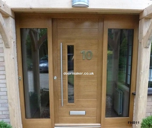 contemporary front door fhb clear sidelights oak